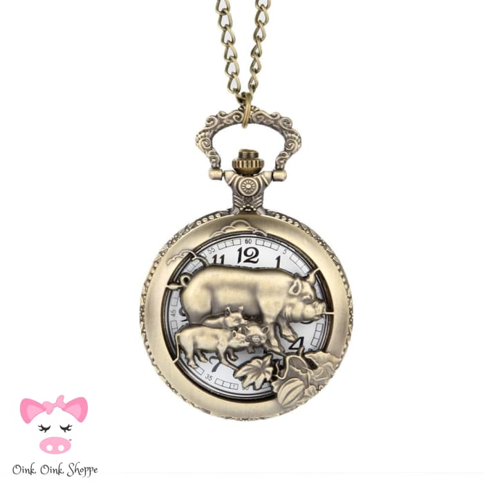 Classic Quartz Pig Pocket Watch - Hollow Style