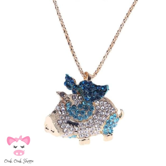 Crystal Pig Pendant Necklace - Blue