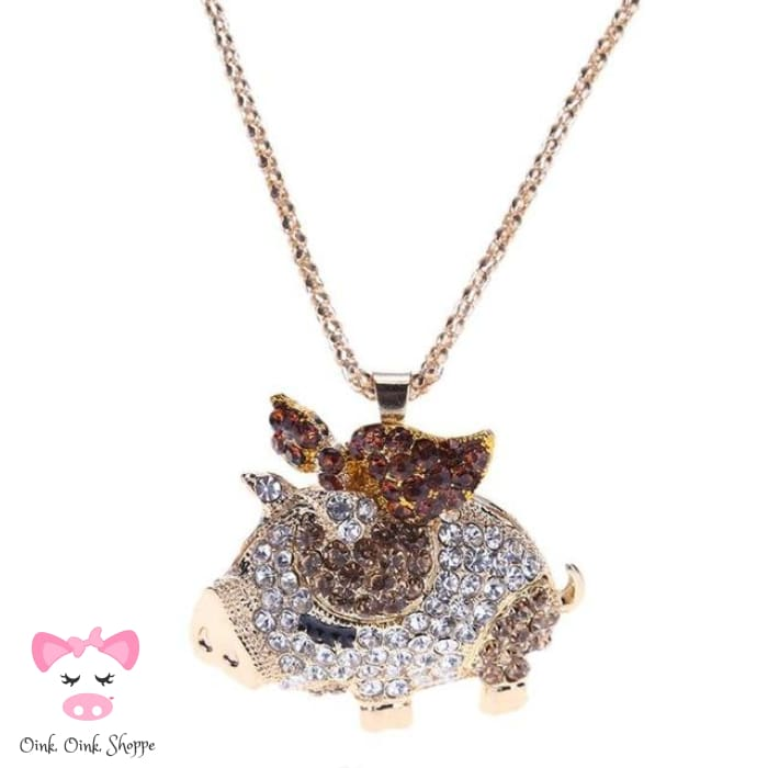 Crystal Pig Pendant Necklace - Gold