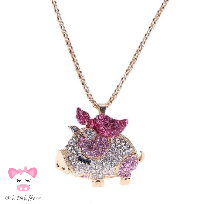 Crystal Pig Pendant Necklace - Pink