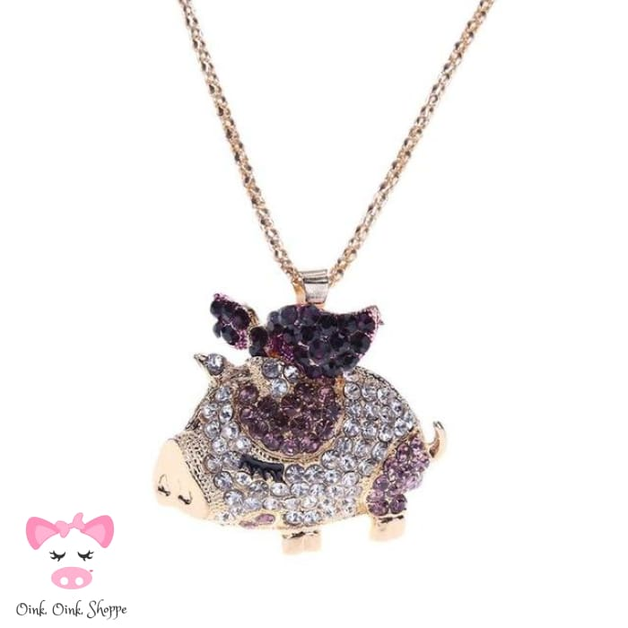 Crystal Pig Pendant Necklace - Purple