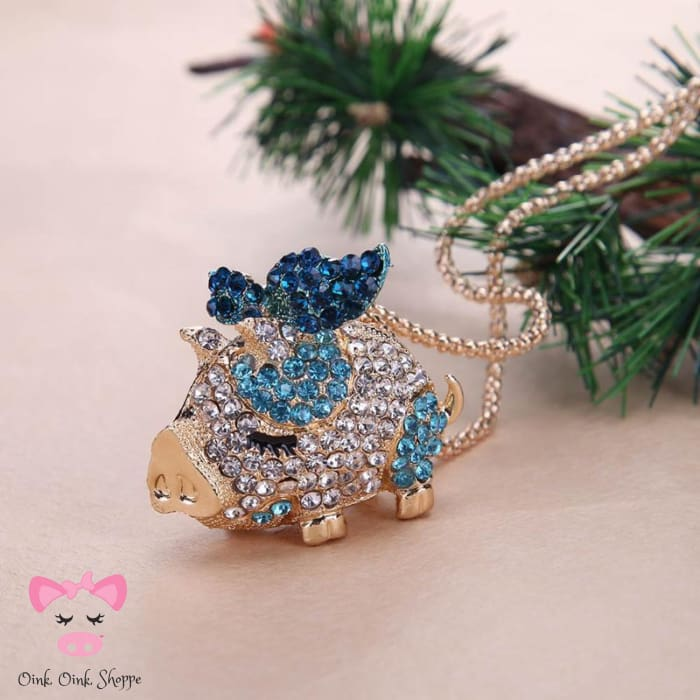 Crystal Pig Pendant Necklace