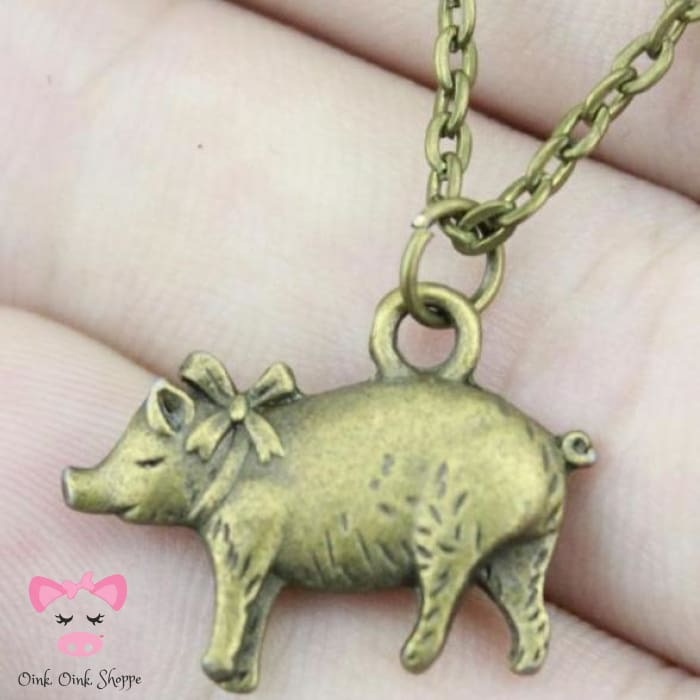 Darling Oinker Necklace - Antique Bronze Plated