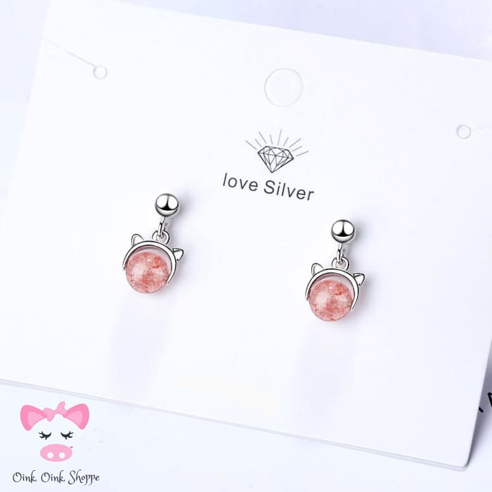 Dazzling Pink Crystal Oink Earrings