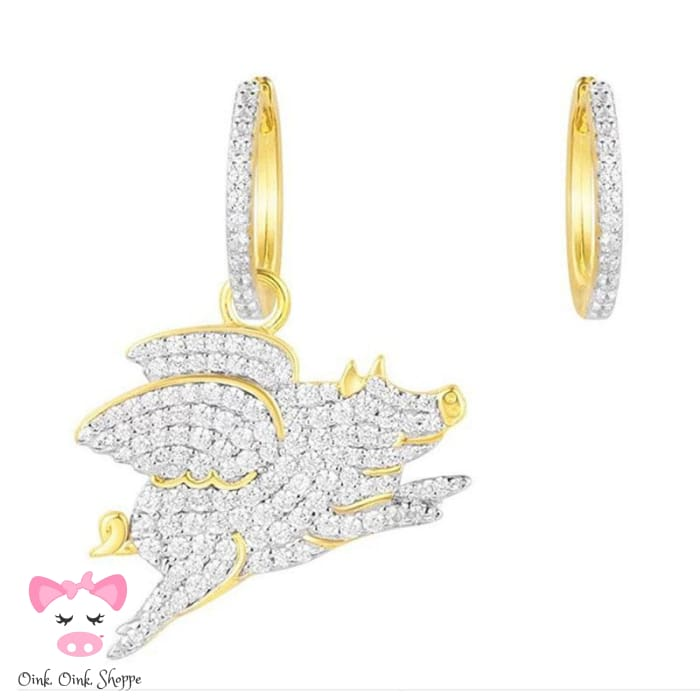 Exquisite CZ Flying Pig Earrings