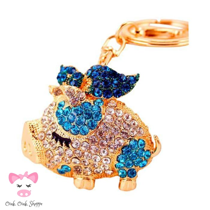 Fancy Piggy Rhinestone Keyring Clip - Blue