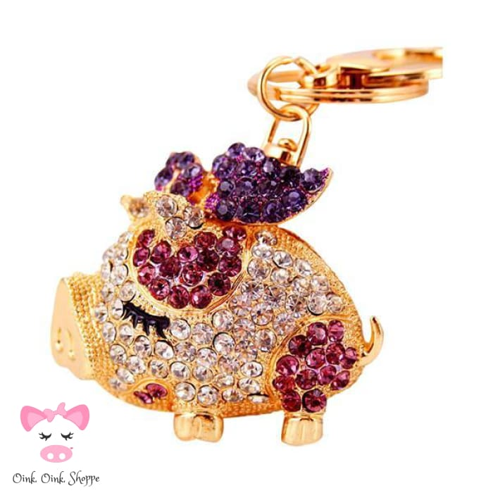 Fancy Piggy Rhinestone Keyring Clip - Purple