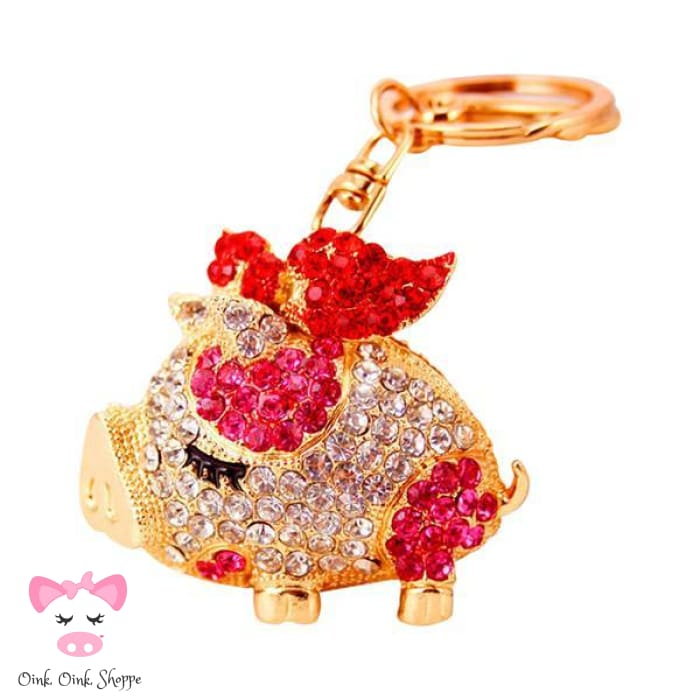 Fancy Piggy Rhinestone Keyring Clip - Red