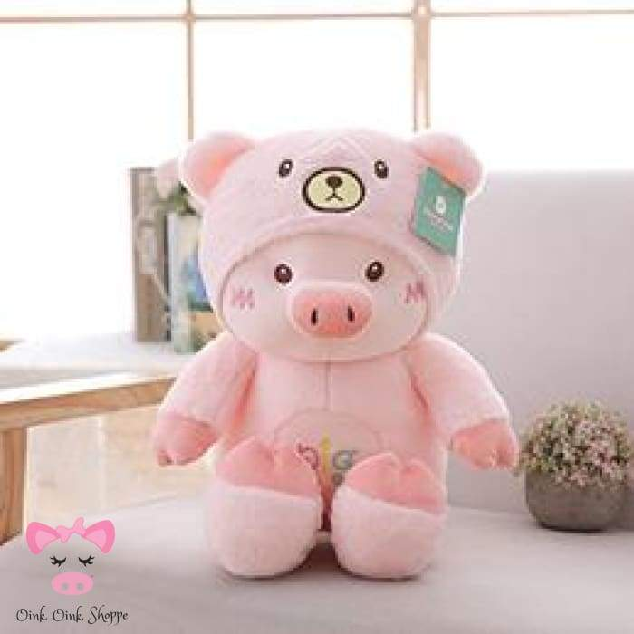 Hooded Piggy Plush - 30cm / Pink Bear
