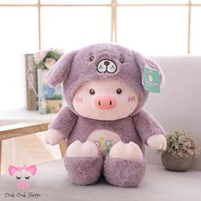 Hooded Piggy Plush - 30cm / Purple Dog