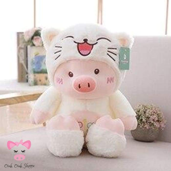 Hooded Piggy Plush - 30cm / White Cat