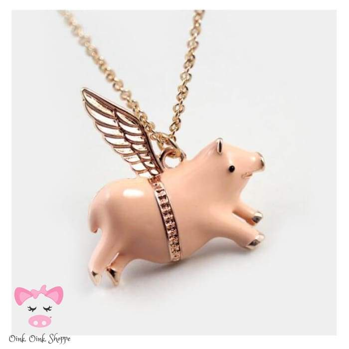 I Can Fly Pig Necklace - Gold