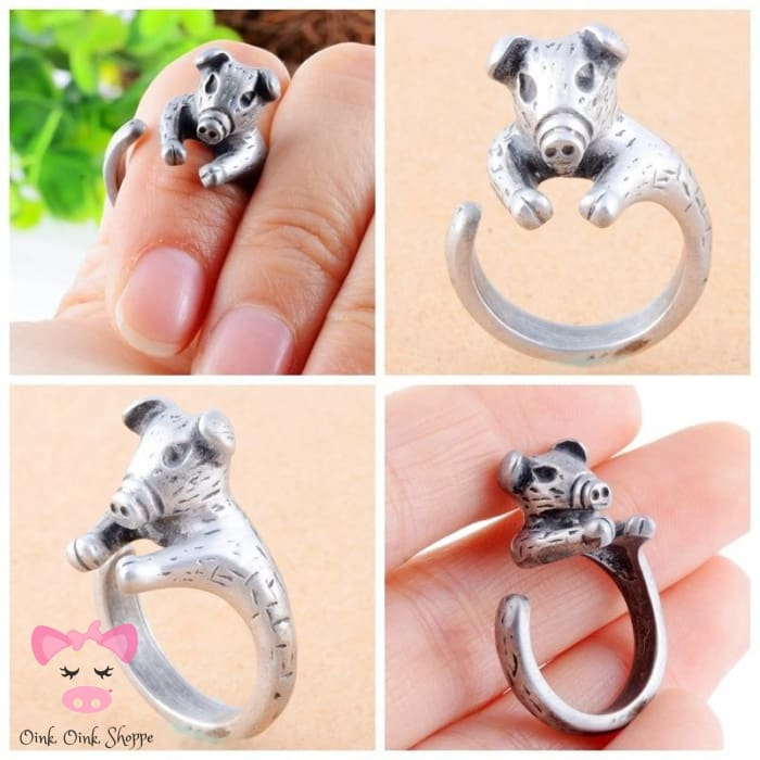 Modish Wrap Around Snout Ring - Resizable / Antique Silver Plated