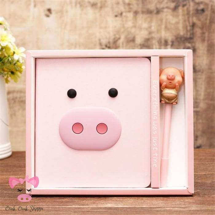 Oink Leather Journal & Pen Set - 2 - Ae Amz