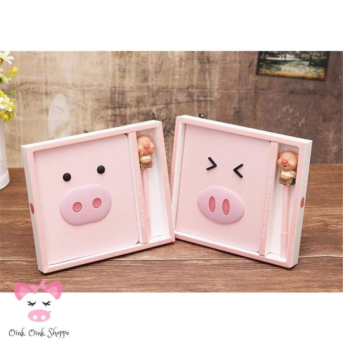 Oink Leather Journal & Pen Set - Ae Amz