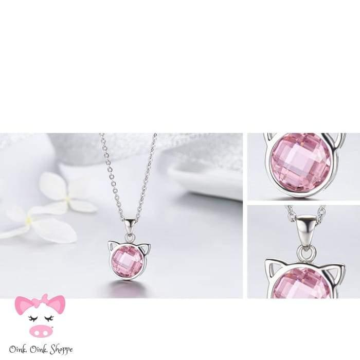 Oink Pink Crystal Pendant Necklace
