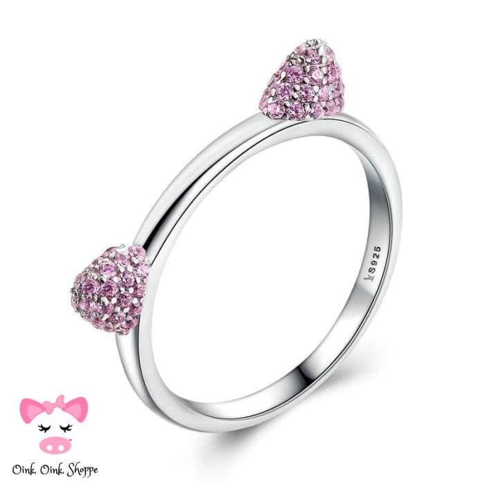 Oinktastic Pink Ears Cz Ring