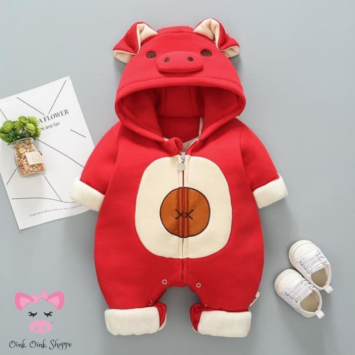 Oinky Jumpsuit Coat - Red / Newborn