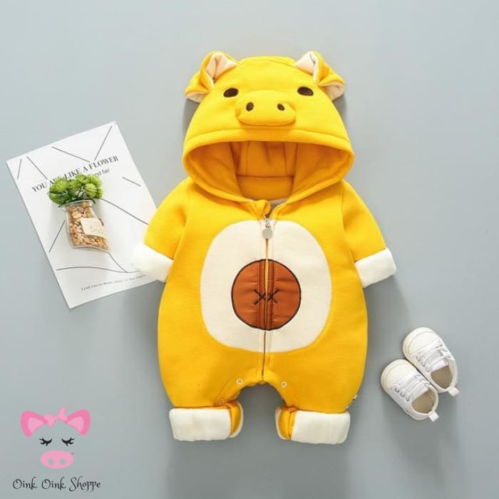 Oinky Jumpsuit Coat - Yellow / Newborn