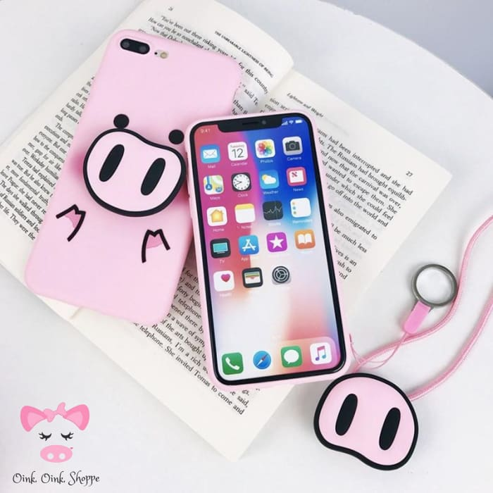 Pig Snout Popsocket Phone Case & Lanyard - Pink / For Iphone 6 6S