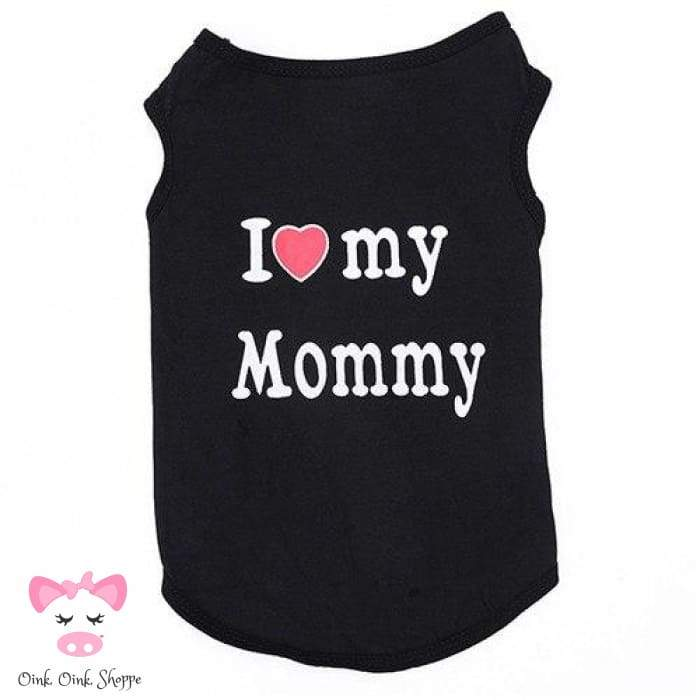 Piggy Loves Mommy & Daddy Tee - Black Mommy / Xs