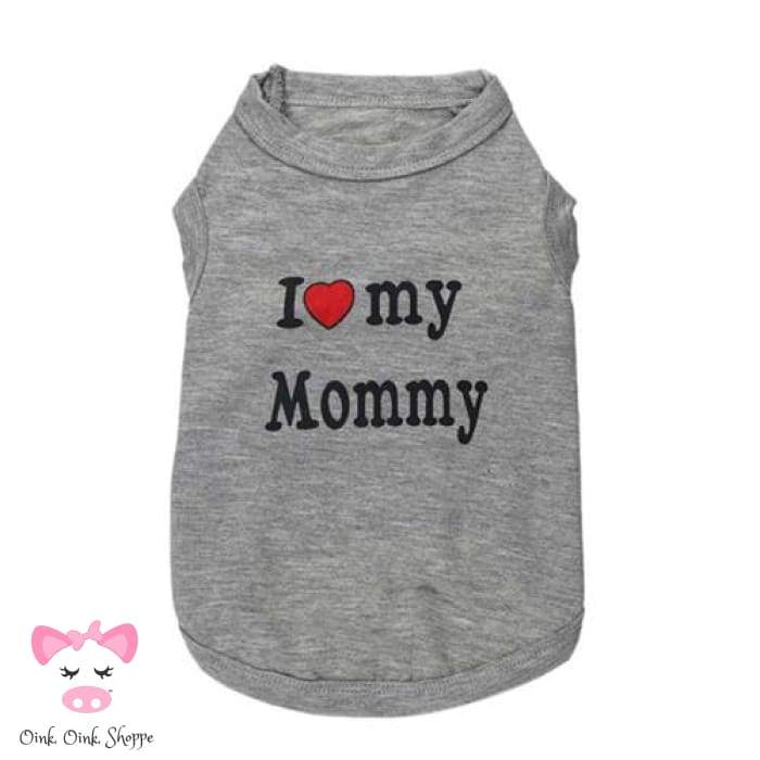 Piggy Loves Mommy & Daddy Tee - Grey Mommy / Xs