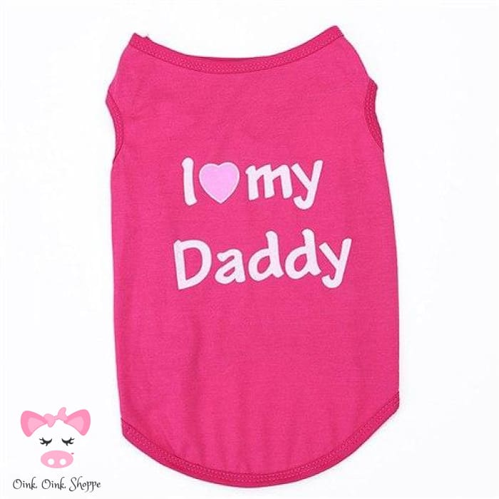 Piggy Loves Mommy & Daddy Tee - Pink Daddy / Xs