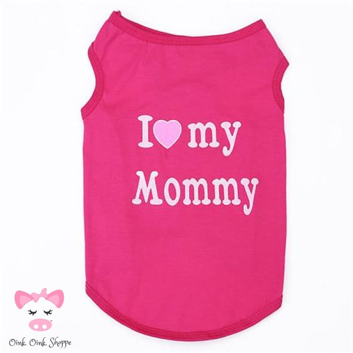 Piggy Loves Mommy & Daddy Tee - Pink Mommy / Xs
