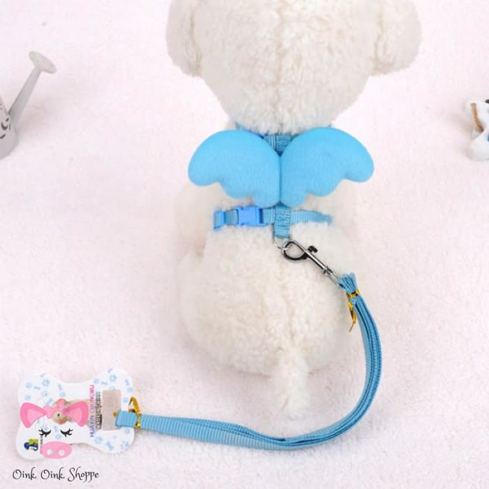 Piggy Wings Harness And Leash Set - Blue / M