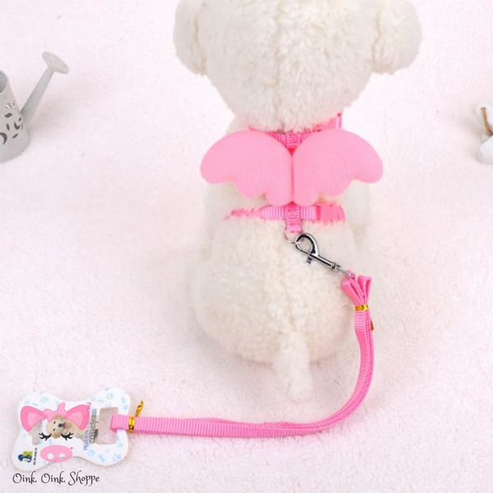Piggy Wings Harness and Leash Set - Pink / M