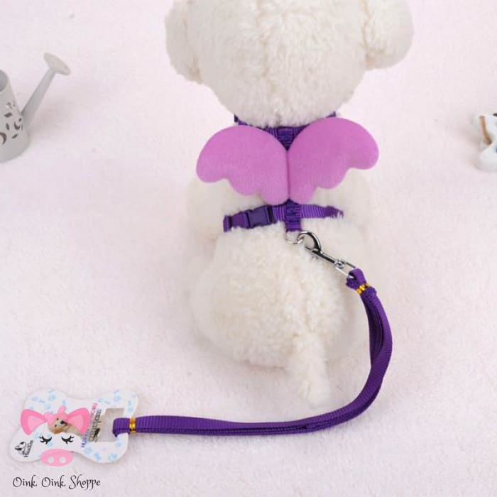 Piggy Wings Harness and Leash Set - Purple / M
