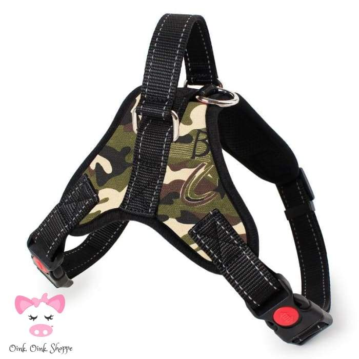 Piggys Choice Padded Harness - Olive-Camo / S