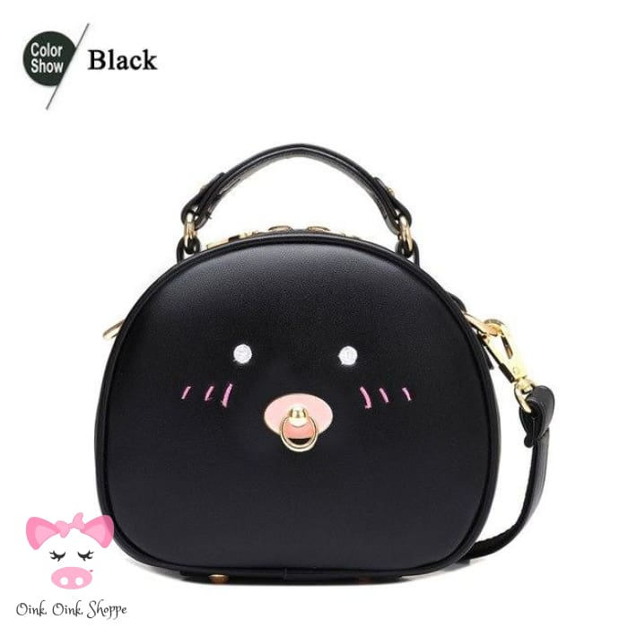 Pigtaculous Leather Handbag - Black / 21X9X18Cm