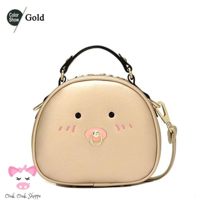 Pigtaculous Leather Handbag - Gold / 21X9X18Cm