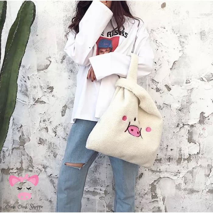 Plush Piggy Tote Bag