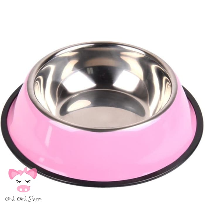 Snoutie Stainless Steel Bowl - Pink / L