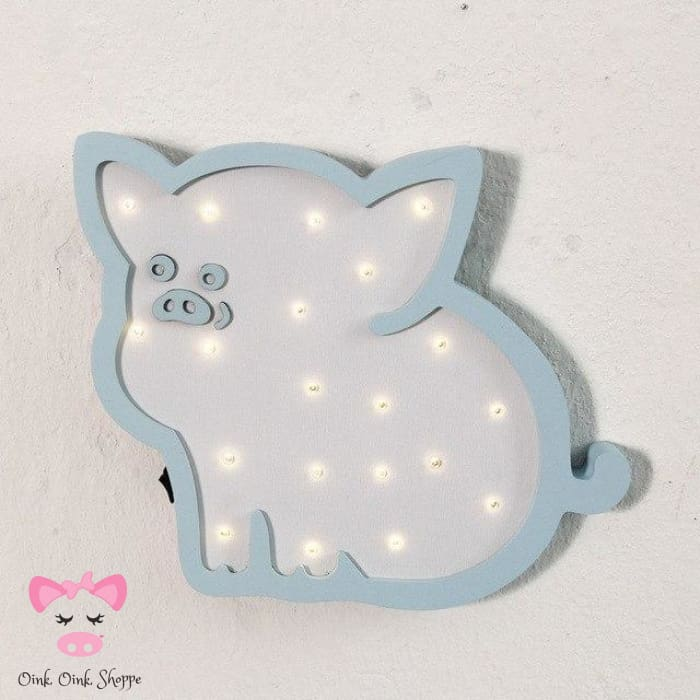 Sweet Wooden Pig LED Marquee - Blue Pig
