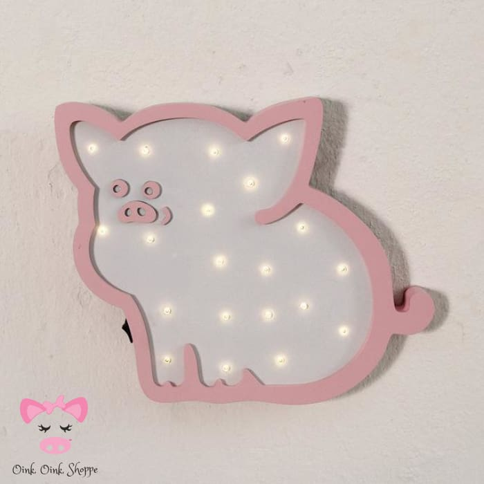 Sweet Wooden Pig Led Marquee - Pink Pig