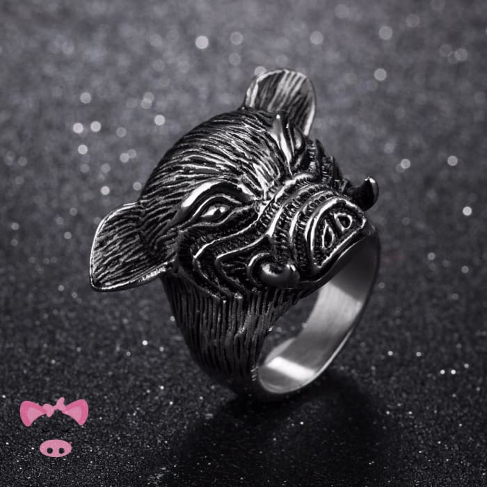 Titanium Boars Head Ring - 10 / Silver