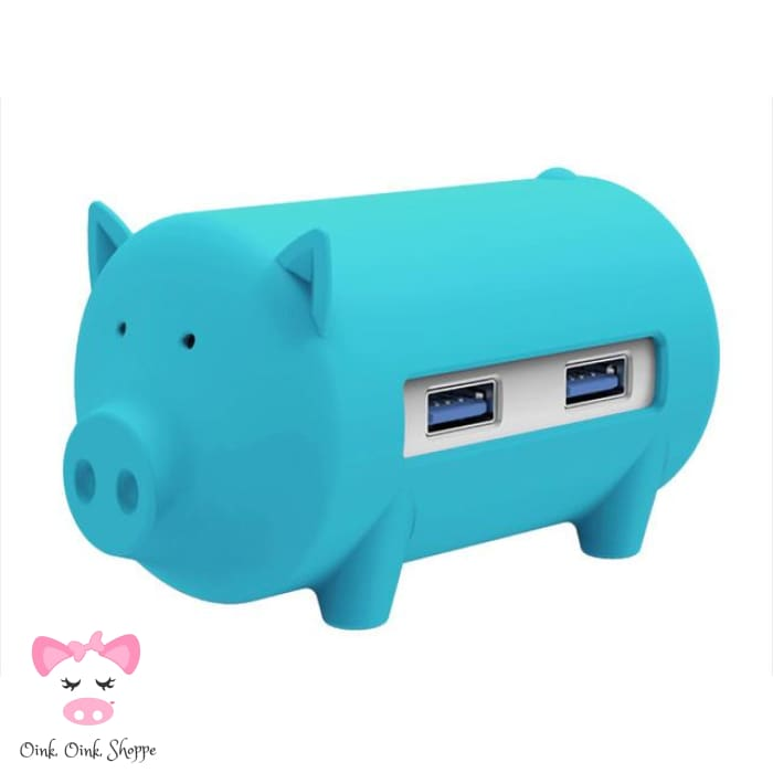 Wise Swine Usb Hub - Blue - Only Pink On Ae/all On Amz