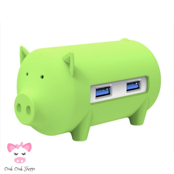 Wise Swine Usb Hub - Green - Only Pink On Ae/all On Amz