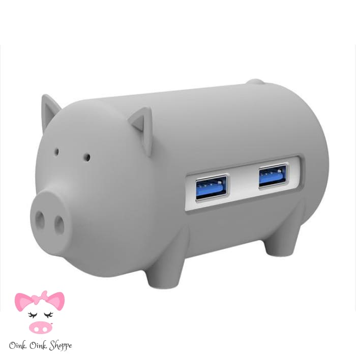 Wise Swine Usb Hub - Grey - Only Pink On Ae/all On Amz