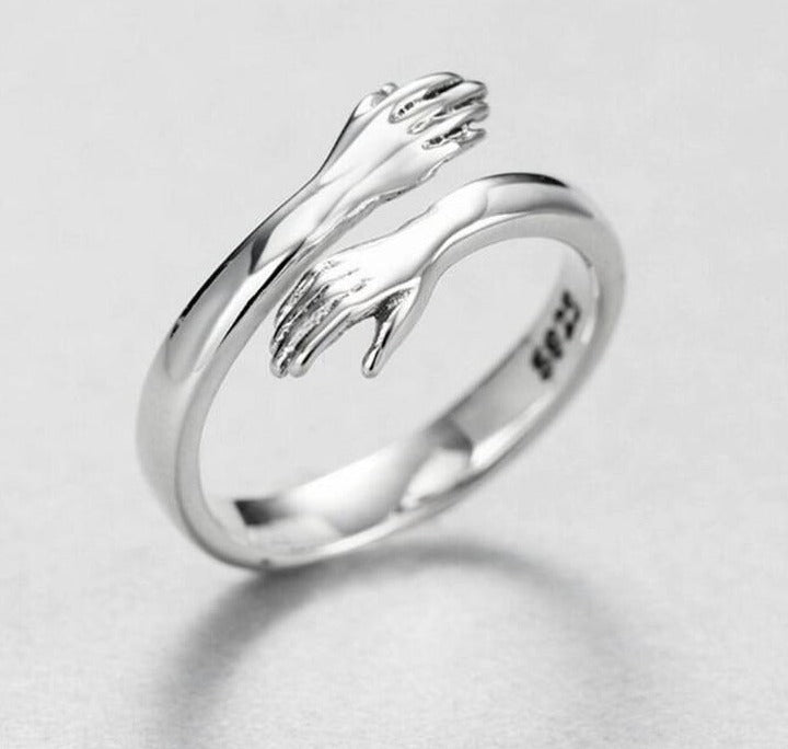 Sterling Silver Hugging Hands Ring - Hiplidz.com