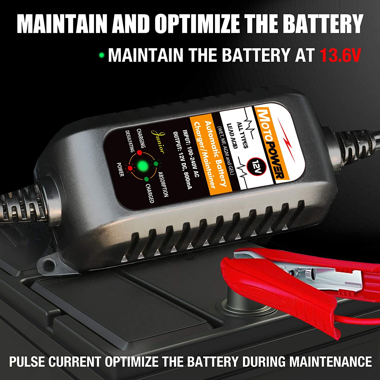 MotoPower 12V Smart Battery Charger/Maintainer