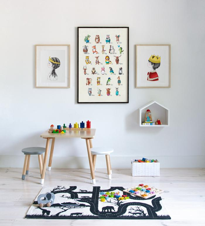 Art Gallery with Alphabet, and Princess and Prince posters for kids play and learn area