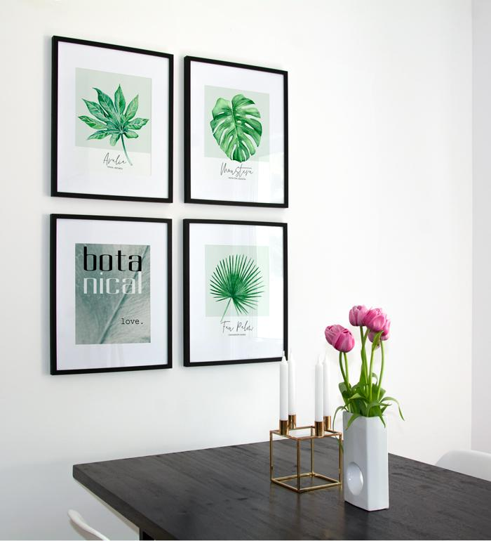 Botanical prints collage in dining room