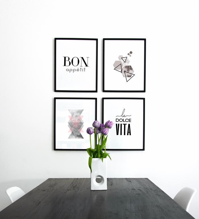 Art Gallery for dining room with typography and geometric shapes posters