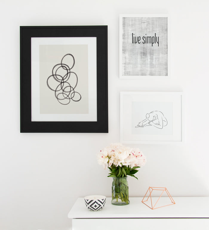 Minimalist art wall decor over dresser Posterwol