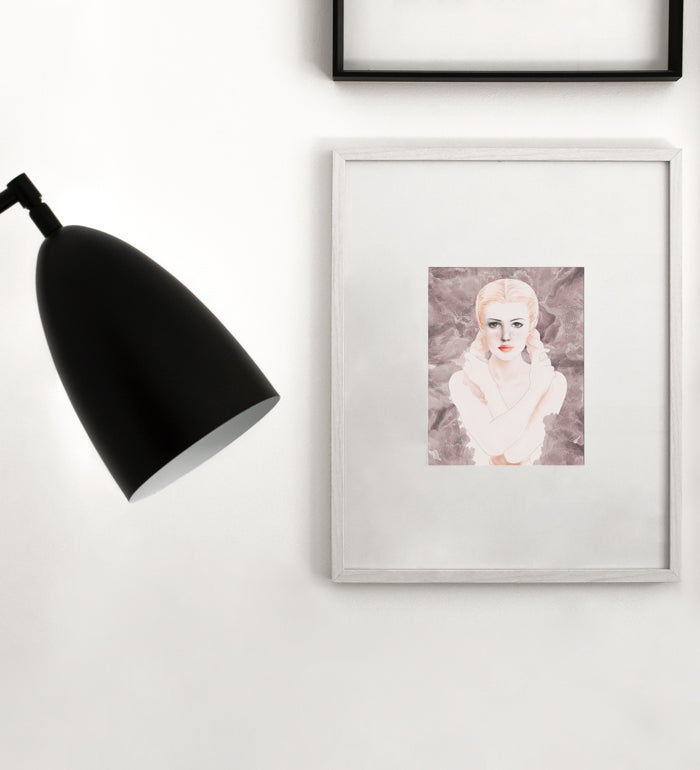 Girl with braids poster in white frame Posterwol