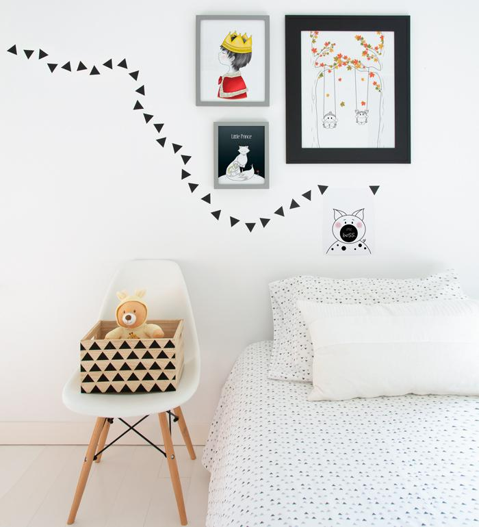 Wall decor with posters for little boy's bedroom